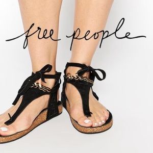 NWT Free People Black Suede Collins Footbed Sandal
